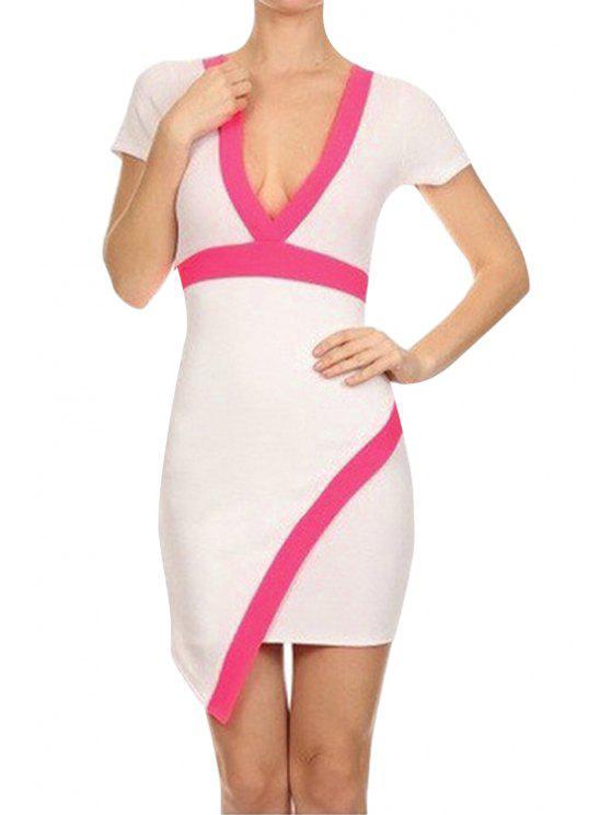 unique Color Block Edging Asymmetrical Short Sleeve Dress - WHITE S