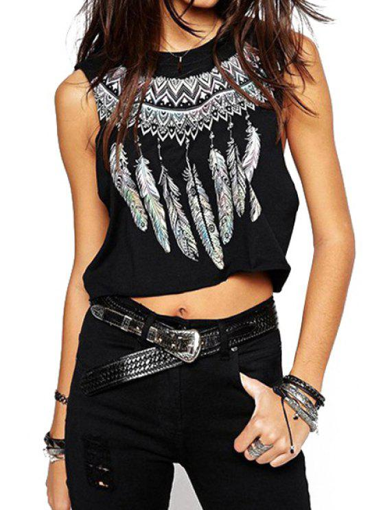 fancy Jewel Neck Feather Print Crop Top - BLACK M