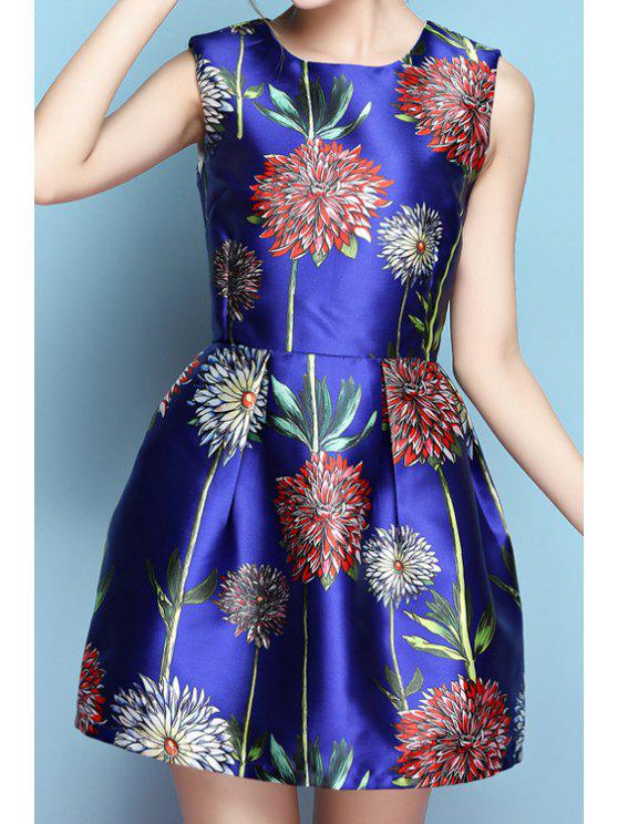 shops Jewel Neck Floral Print A-Line Sleeveless Dress - BLUE S