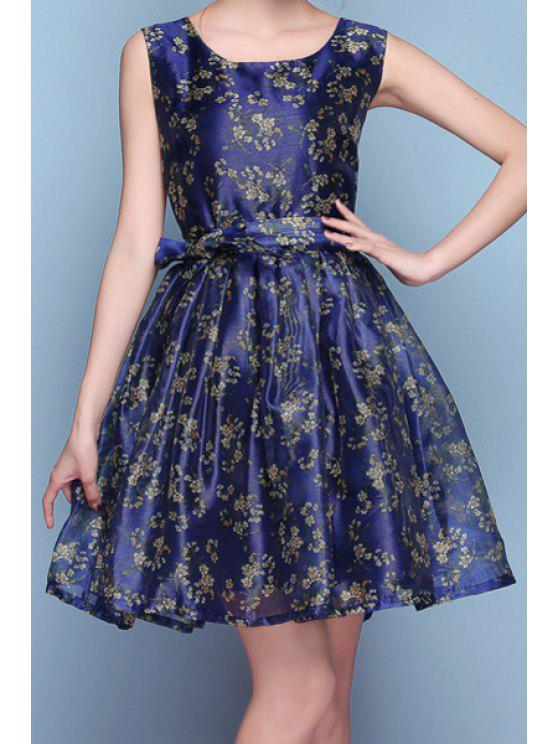 online Scoop Neck Tiny Floral Print Sleeveless Dress - DEEP BLUE S