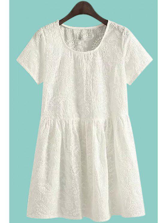 best Round Neck Short Sleeve White Retro Embroidery Dress - WHITE S
