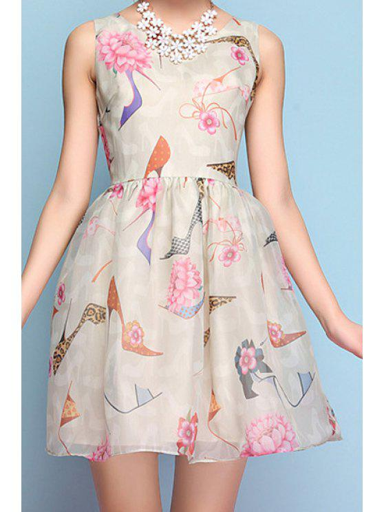 women Floral High-Heeled Shoes Print Sleeveless Dress - LIGHT APRICOT S