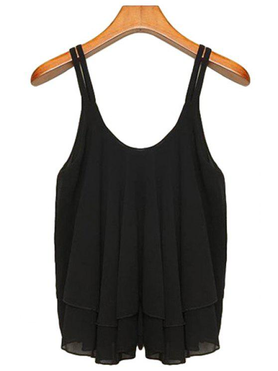 latest Chiffon Solid Color Spaghetti Straps Tank Top - BLACK S