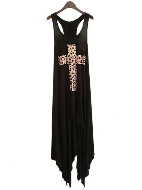 affordable Sleeveless Criss-Cross Leopard Print Dress - BLACK M