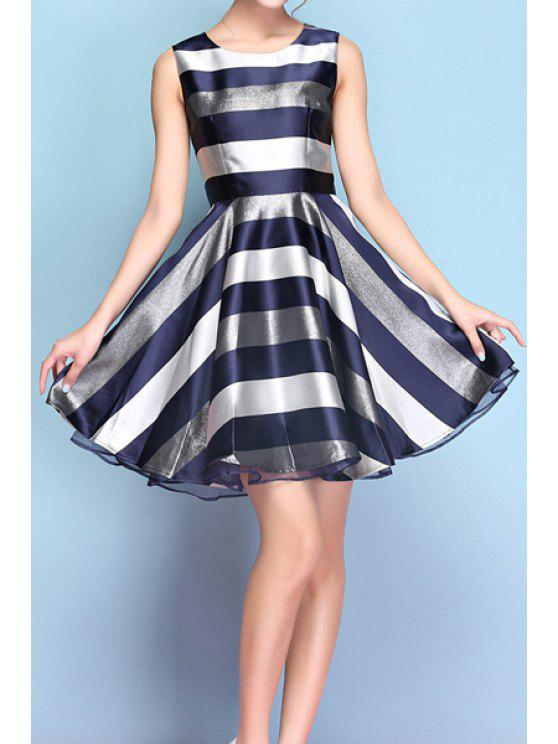 latest Color Block Stripe Sleeveless Dress - SAPPHIRE BLUE S