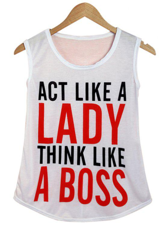 ladies Scoop Neck Letter Pattern Tank Top - WHITE ONE SIZE(FIT SIZE XS TO M)