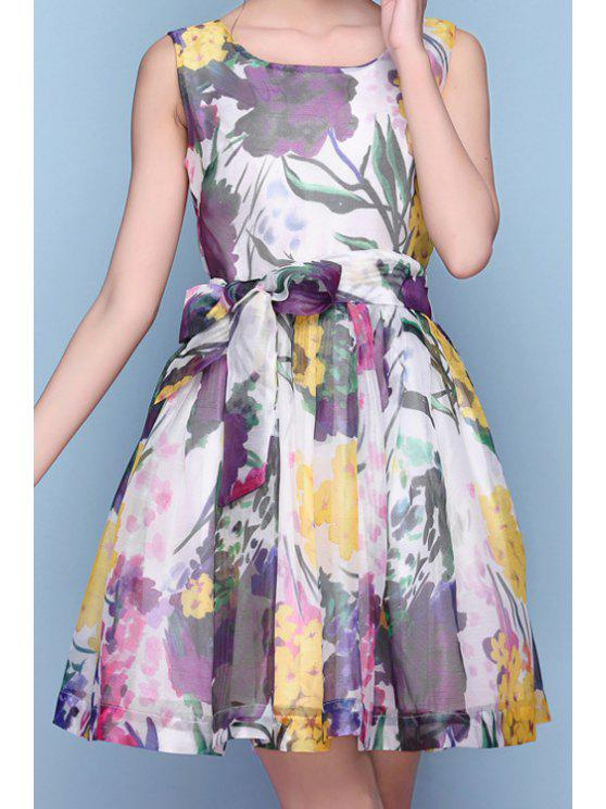 women's Floral Print Tie-Up Ruffle Sleeveless Dress - PURPLE S
