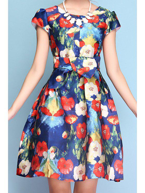 chic Color Block Floral Print Short Sleeve Dress - BLUE S