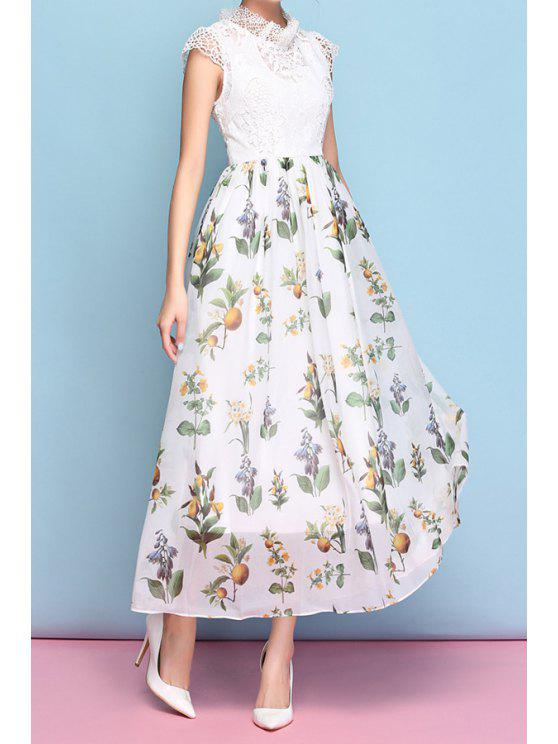 women's Lace Splicing Floral Print See-Through Dress - WHITE S