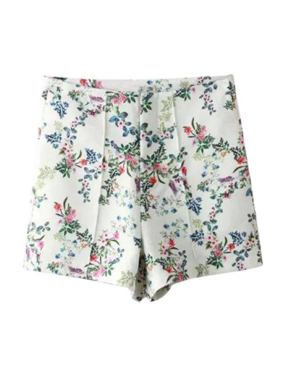 ladies Floral Print Loose-Fitting Chiffon Shorts - WHITE S