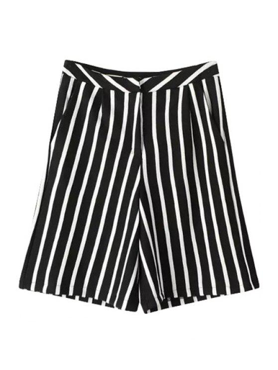 chic Loose Fitting Stripe Fifth Pants - WHITE AND BLACK S