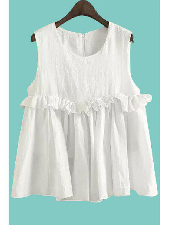 latest Flounce Splicing Ruffle Sleeveless Tank Top - WHITE S