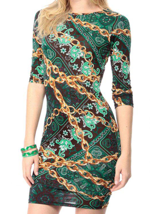 women's Chain Print 3/4 Sleeve Bodycon Dress - AS THE PICTURE S
