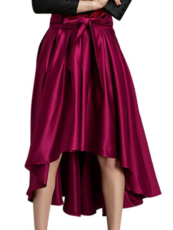 latest Solid Color High Low A-Line Skirt - WINE RED ONE SIZE(FIT SIZE XS TO M)