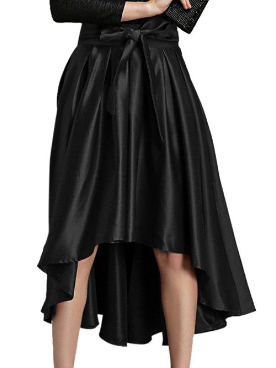 shops Solid Color High Low A-Line Skirt - BLACK ONE SIZE(FIT SIZE XS TO M)