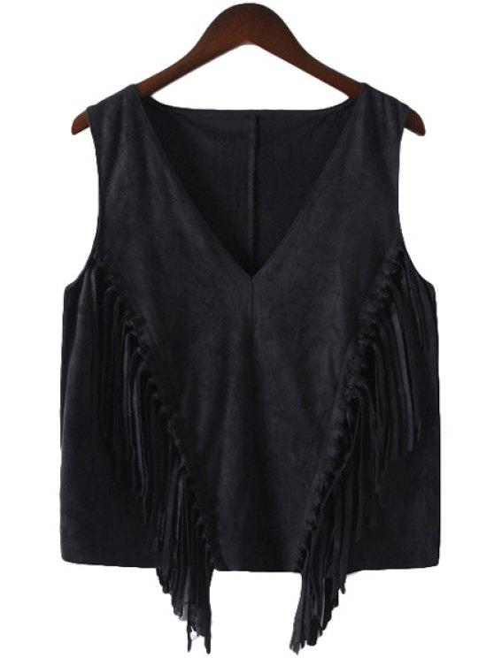 lady Fringe Splicing Solid Color Sleeveless Tank Top - BLACK S