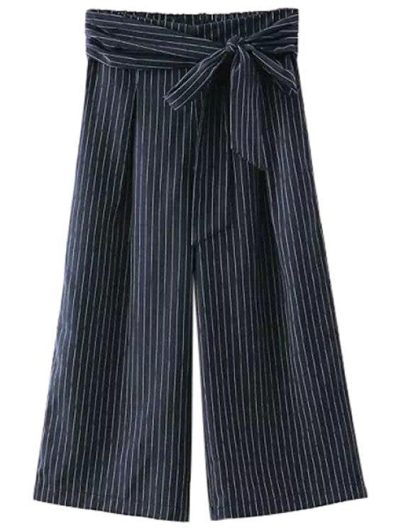 fashion Drawstring Design Stripes Wide Leg Capri Pants - WHITE AND BLACK S