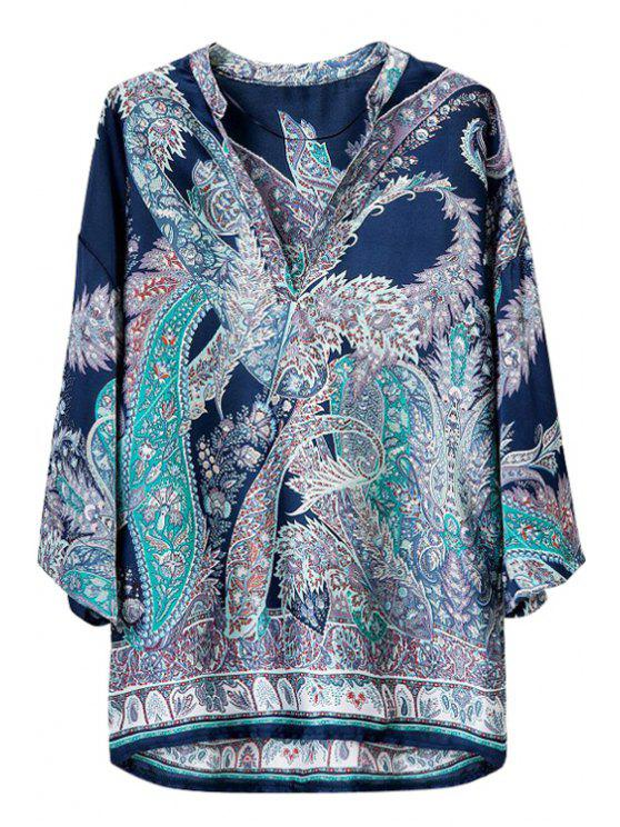 womens Long Sleeve Loose-Fitting Floral Print Blouse - BLUE S