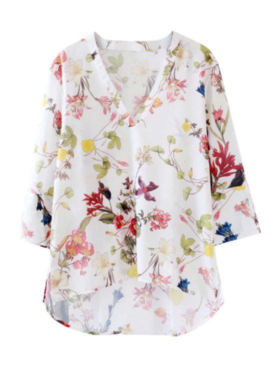 buy Plunging Neck Long Sleeve Flower Print Blouse - WHITE S