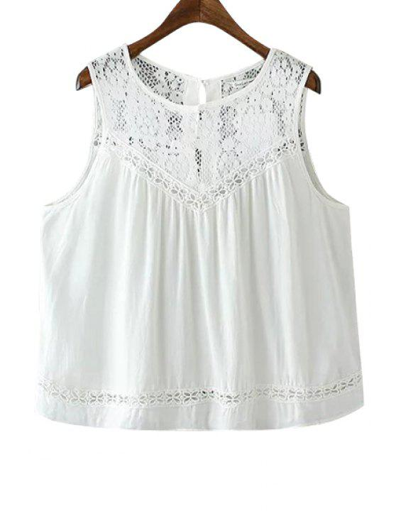 shop Lace Splicing Solid Color Back Slit Tank Top - WHITE S