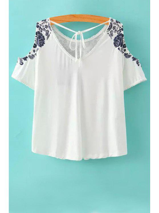 chic Off-The-Shoulder Floral Print Short Sleeve T-Shirt - WHITE S