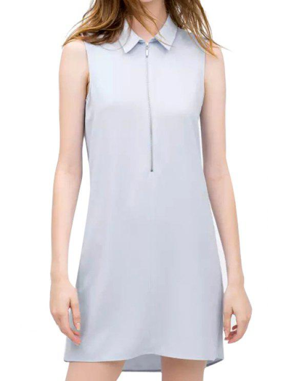 hot Turn-Down Collar Solid Color Zipper Dress - LIGHT BLUE S