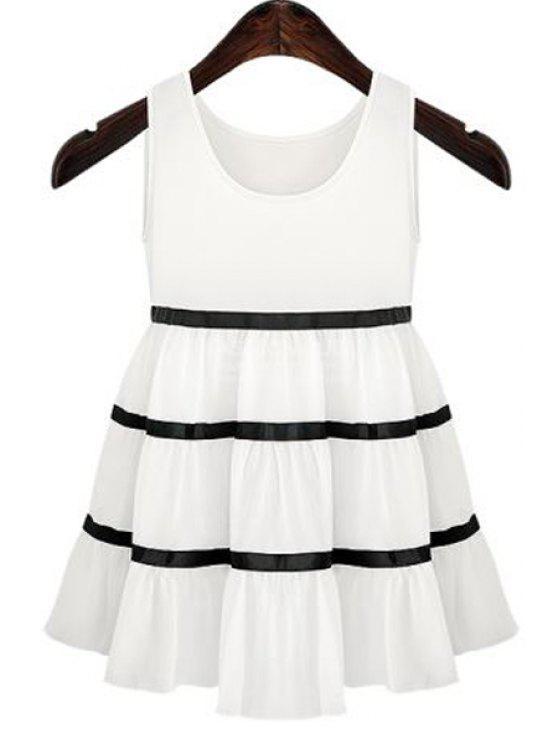 ladies Stripe Color Block Ruffle Sleeveless Dress - WHITE XL