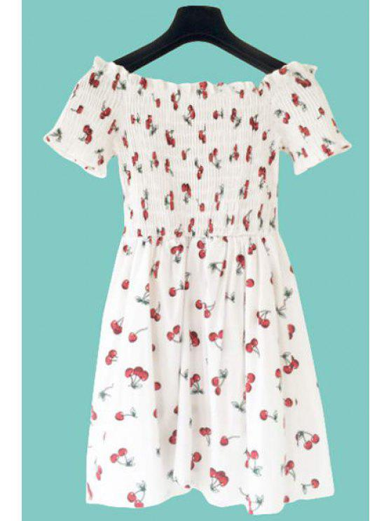 affordable Cherry Print Slash Neck A-Line Dress - WHITE ONE SIZE(FIT SIZE XS TO M)