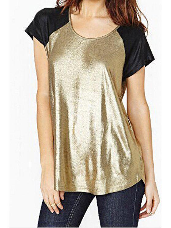 affordable Gold Black Splicing Short Sleeve T-Shirt - GOLDEN S