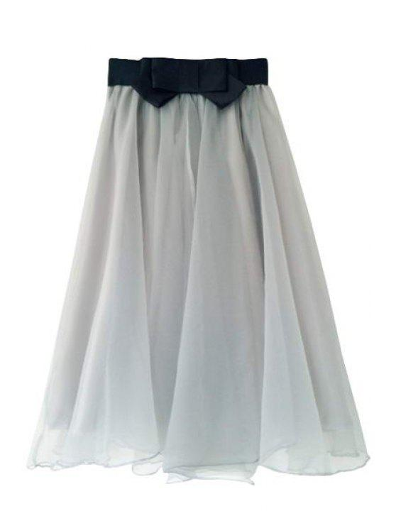 online Voile Spliced A-Line Skirt - GRAY ONE SIZE(FIT SIZE XS TO M)
