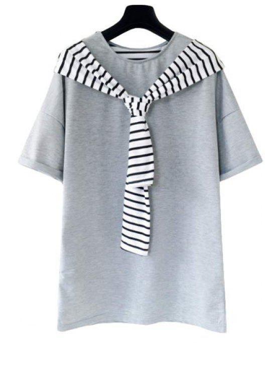 Stripe Spliced Short Sleeve T-Shirt - Cinza Tamanho Único(Ajusta