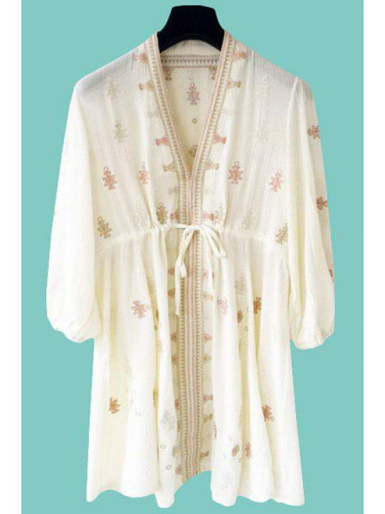 ladies Embroidery V-Neck 3/4 Sleeve Dress - OFF-WHITE ONE SIZE(FIT SIZE XS TO M)