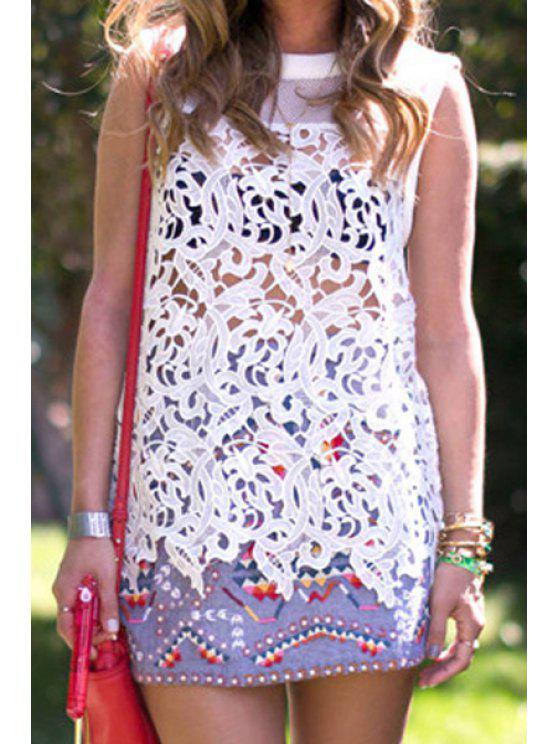 chic Hollow Spliced Round Neck Tank Top - WHITE S
