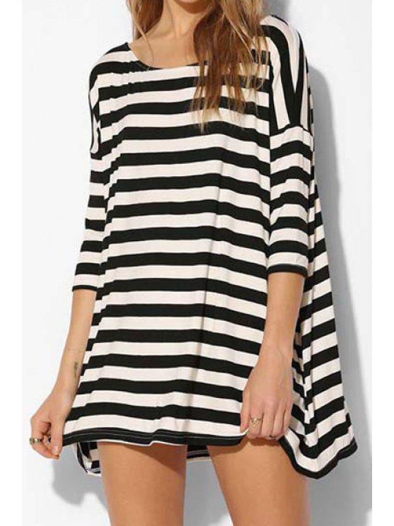 hot Half Sleeve Striped Loose-Fitting Mini Dress - WHITE AND BLACK S