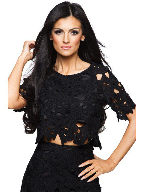 new Short Sleeve Hollow Black T-Shirt - BLACK S