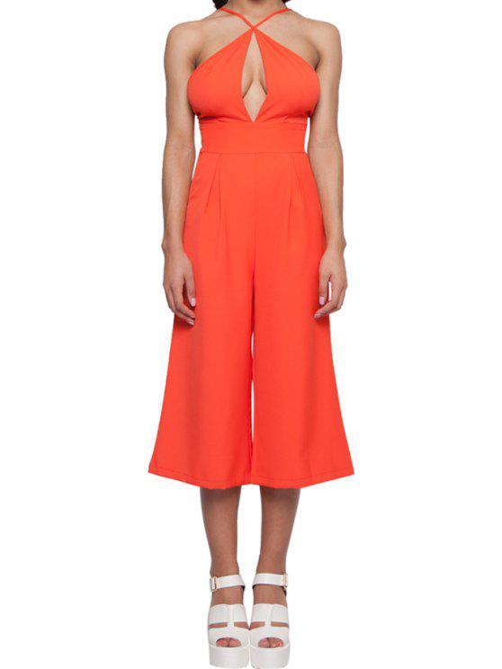 affordable Solid Color Spaghetti Strap Wide Leg Jumpsuit - ORANGE S
