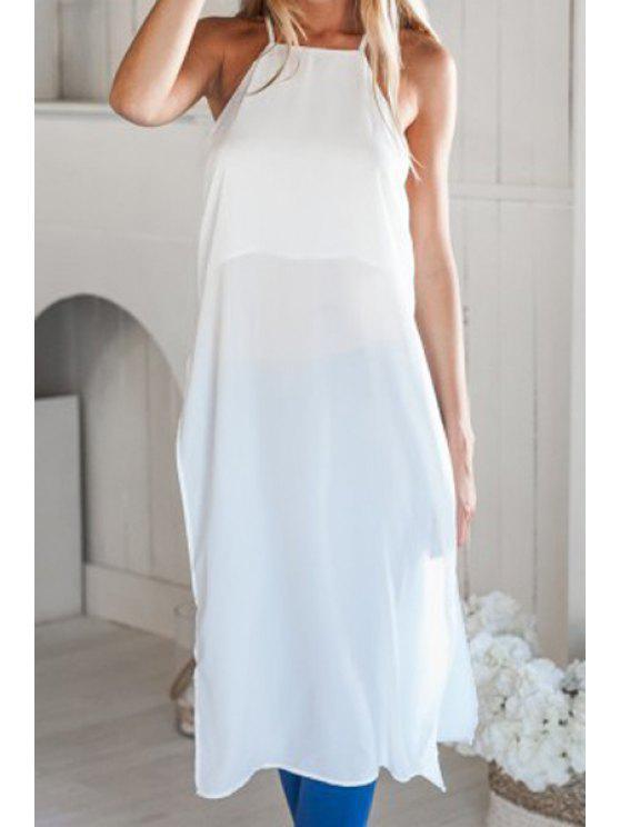 buy White Side Slit Spaghetti Straps Dress - WHITE L