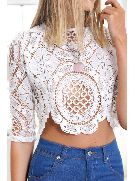 sale Half Sleeve White Lace Blouse - WHITE S
