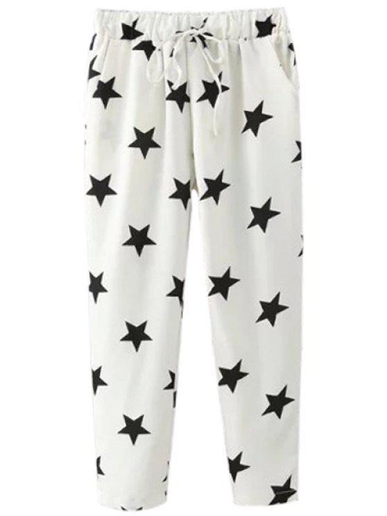 affordable Drawstring Design Five-Point Star Print Capri Pants - WHITE M