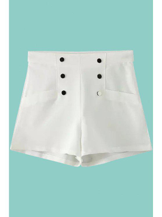 outfit Solid Color Double-Breasted Shorts - WHITE S