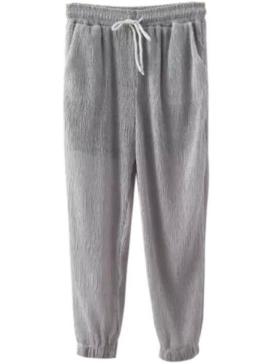 online Drawstring Design Solid Color Pants - GRAY S
