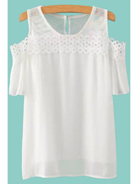 latest Short Sleeve Solid Color Hollow Out T-Shirt - WHITE S