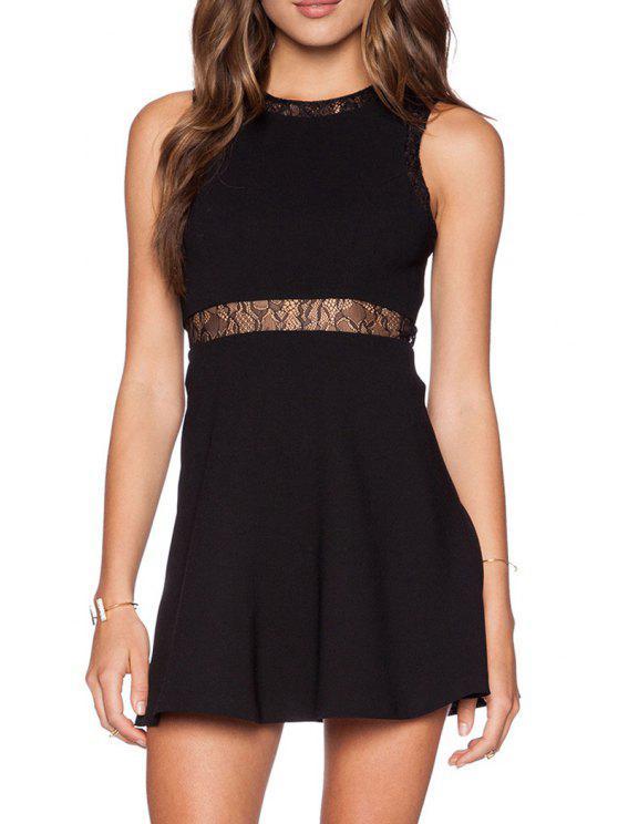 best Waist See-Through Lace Splicing Sleeveless Dress - BLACK S