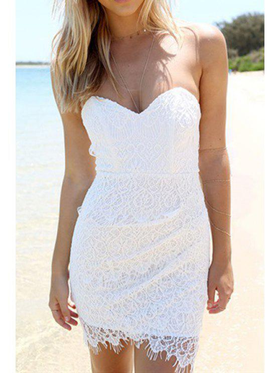 women Strapless Backless Solid Color Lace Dress - WHITE S