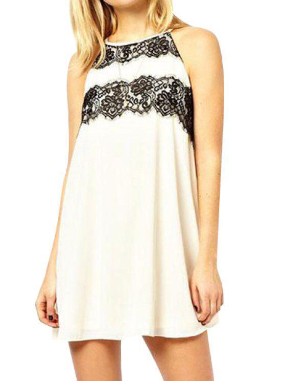 sale Black Lace Splicing Backless Sleeveless Dress - WHITE XL