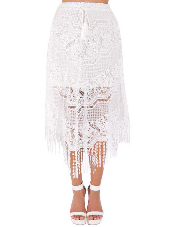 shops Solid Color Fringe See-Through Lace Skirt - WHITE S