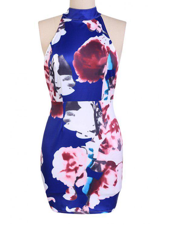 trendy Sleeveless Flower Print Bodycon Dress - CADETBLUE S