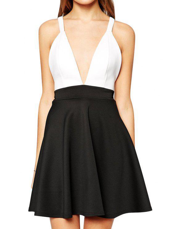 chic Back Cross White Black Splicing Sleeveless Dress - BLACK S