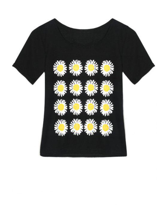 ladies Flowers Print Short Sleeve T-Shirt - BLACK XS
