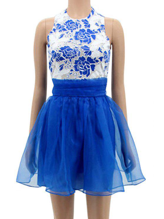 fashion Floral Spliced Sleeveless A-Line Dress - BLUE L